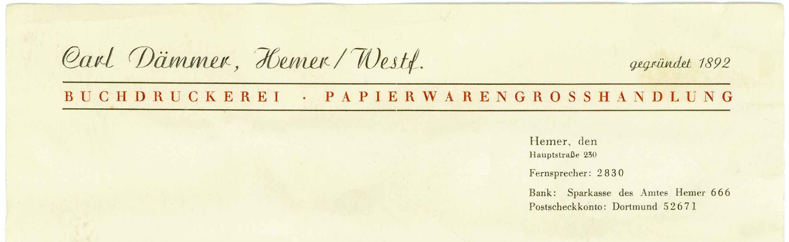 Briefbogen Druckerei Carl Dämmer 1971
